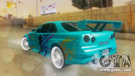 Nissan Skyline GT-R R34 Cyan Edition 2001 for GTA San Andreas left view