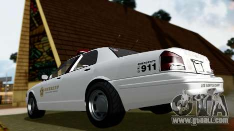 GTA 5 Vapid Stanier II Sheriff Cruiser for GTA San Andreas back left view