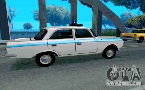 Moskvitch 412 Police for GTA San Andreas back left view