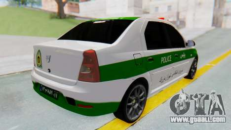 Dacia Logan Iranian Police Naja for GTA San Andreas back left view