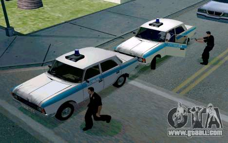 Moskvitch 412 Police for GTA San Andreas back view