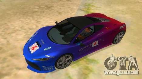 GTA 5 Progen T20 Lights version for GTA San Andreas upper view