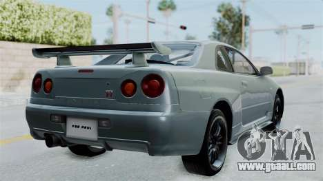 Nissan Skyline GT-R R34 2002 F&F4 for GTA San Andreas back left view
