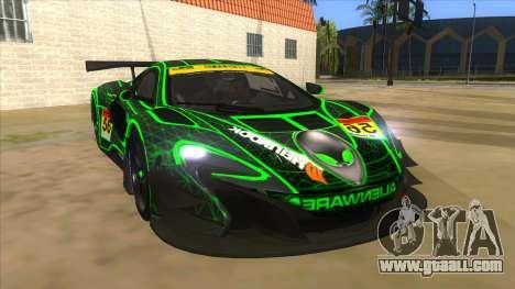 McLaren 650S GT3 Alien PJ for GTA San Andreas back view