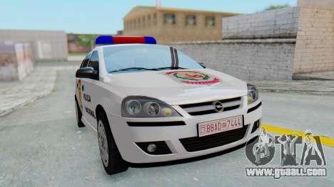 Opel Corsa C Policia for GTA San Andreas right view