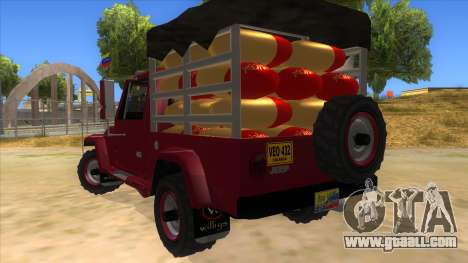 Jeep Pick Up Stylo Colombia for GTA San Andreas back left view