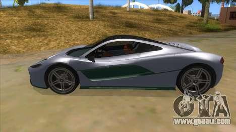 GTA 5 Progen T20 Lights version for GTA San Andreas left view