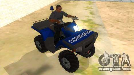ATV Polaris Police for GTA San Andreas back view