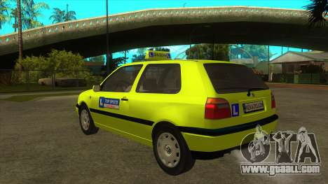 VW Golf Mk3 Top Speed Auto Skola for GTA San Andreas back left view