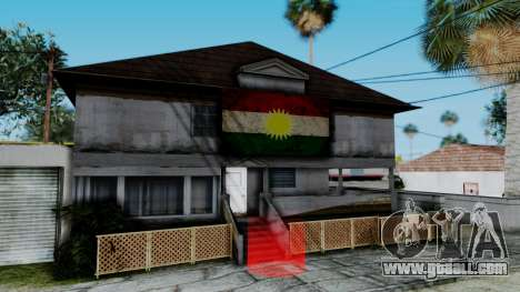 New CJ House with Kurdish Flag for GTA San Andreas second screenshot