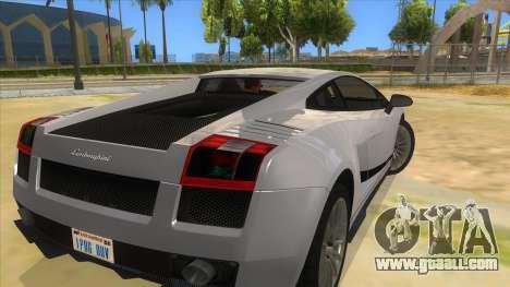 Lamborghini Gallardo 2012 Edition for GTA San Andreas back left view