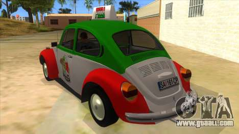 Volkswagen Beetle Pizza for GTA San Andreas back left view
