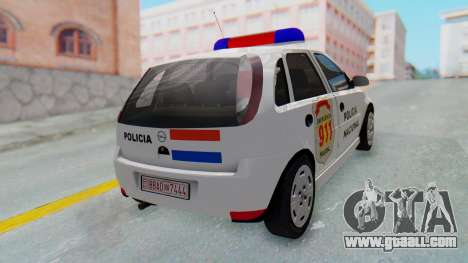 Opel Corsa C Policia for GTA San Andreas back left view
