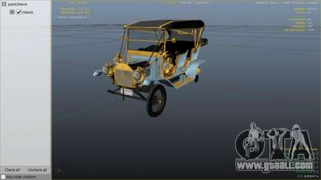 GTA 5 Ford T 1910 Passenger Open Touring Car right side view