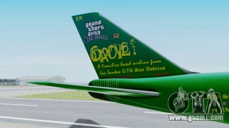 Boeing 747-100 Grove Street for GTA San Andreas back left view