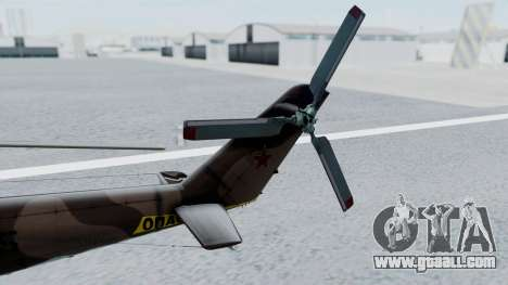 Mi-24V Soviet Air Force 0835 for GTA San Andreas back left view