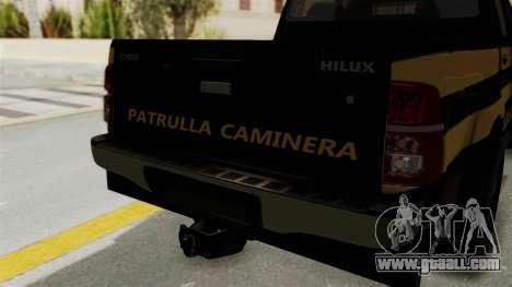 Toyota Hilux 2015 Patrulla Caminera Paraguaya for GTA San Andreas back view