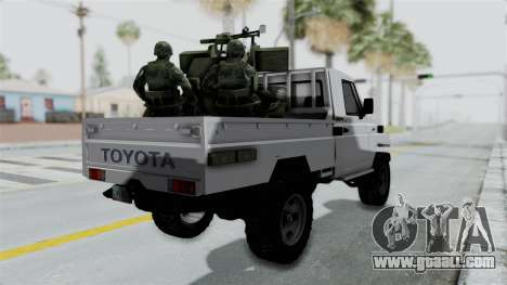 Toyota Land Cruiser Libyan Army for GTA San Andreas left view