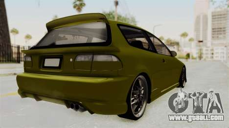 Honda Civic Fast and Furious for GTA San Andreas back left view