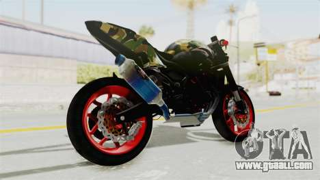 Kawasaki Ninja 250R Naked Camouflage for GTA San Andreas left view