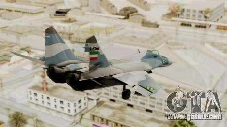MIG-29A IRIAF for GTA San Andreas left view
