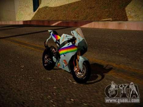 Yamaha YZR M1 2016 Rainbow Dash for GTA San Andreas back left view