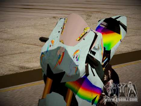 Yamaha YZR M1 2016 Rainbow Dash for GTA San Andreas back view