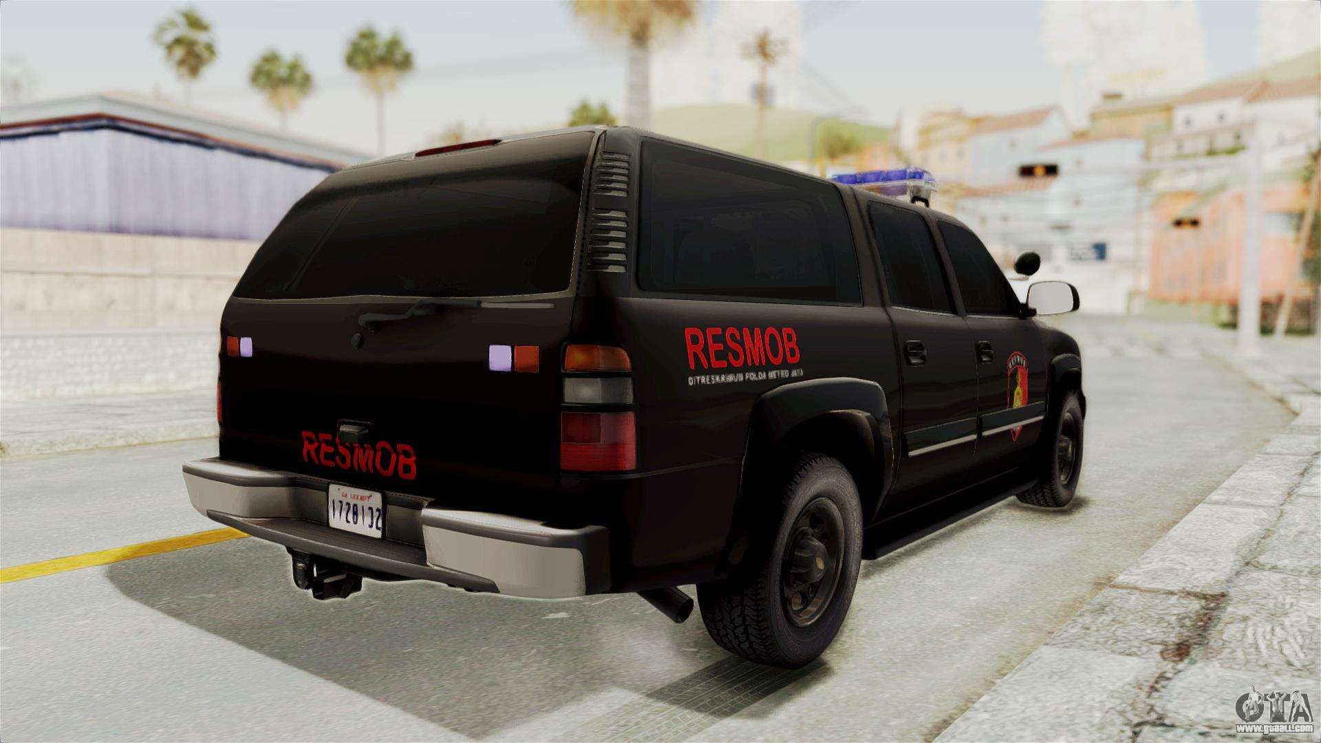 Chevrolet suburban indonesian police resmob unit for gta san andreas right view