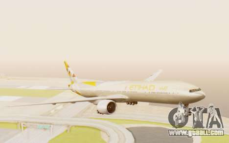Boeing 777-300ER Etihad Airways for GTA San Andreas back left view
