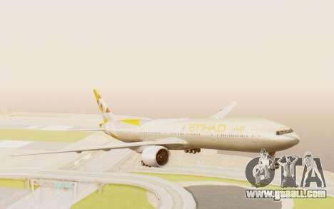 Boeing 777-300ER Etihad Airways for GTA San Andreas back left view