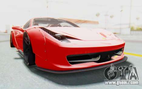 Ferrari 458 Liberty Walk for GTA San Andreas inner view