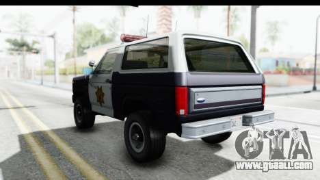 Ford Bronco 1982 Police for GTA San Andreas back left view