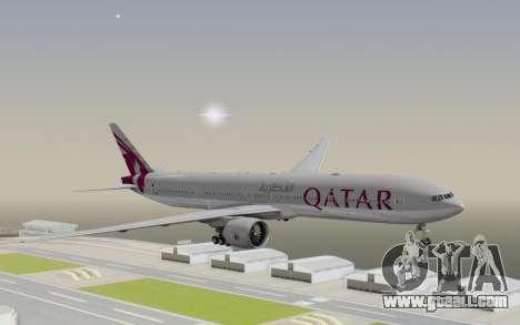 Boeing 777-300ER Qatar Airways v1 for GTA San Andreas back left view