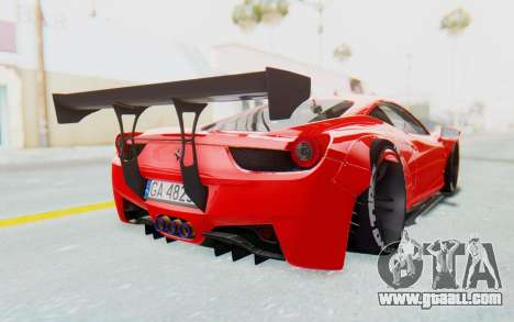 Ferrari 458 Liberty Walk for GTA San Andreas back view
