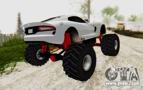 Dodge Viper SRT GTS 2012 Monster Truck for GTA San Andreas back left view