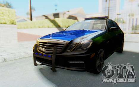 Mercedes-Benz E63 German Police Blue-Yellow for GTA San Andreas back left view