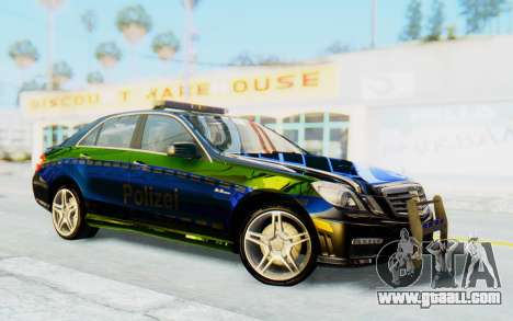 Mercedes-Benz E63 German Police Blue-Yellow for GTA San Andreas back view