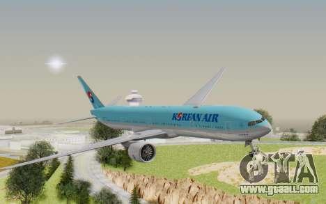 Boeing 777-300ER Korean Air for GTA San Andreas back left view