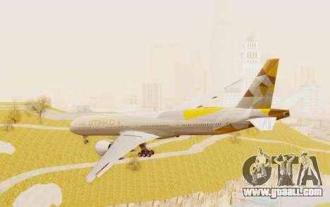 Boeing 777-300ER Etihad Airways for GTA San Andreas left view