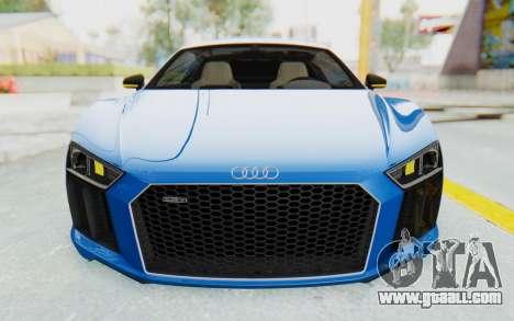 Audi R8 V10 Plus 2017 for GTA San Andreas bottom view