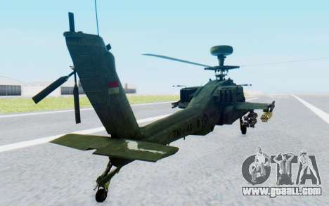 AH-64 Apache for GTA San Andreas back left view