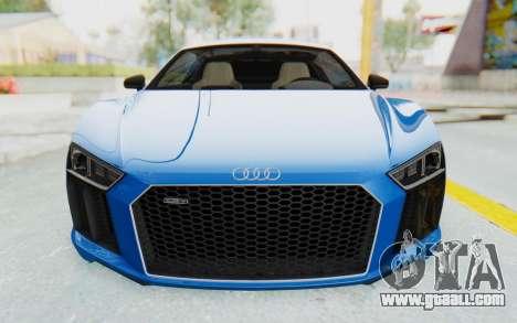 Audi R8 V10 Plus 2017 for GTA San Andreas upper view