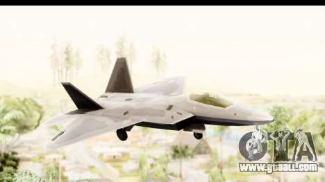 Lockheed Martin F-22 Raptor for GTA San Andreas back left view