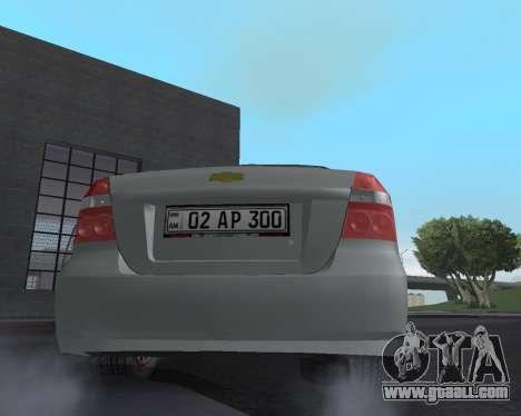 Chevrolet Aveo Armenian for GTA San Andreas engine