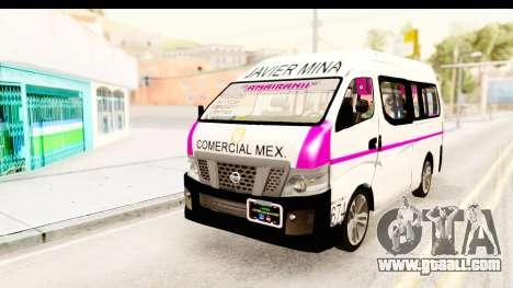Nissan NV350 Urvan Comercial Mexicana for GTA San Andreas back left view