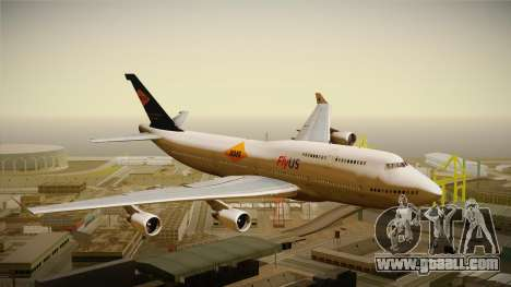 Boeing 747-400 FlyUS with NMB Logo for GTA San Andreas back left view