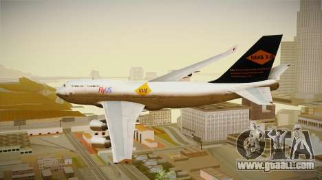 Boeing 747-400 FlyUS with NMB Logo for GTA San Andreas left view