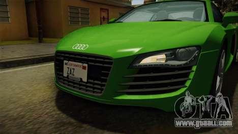 Audi R8 Coupe 4.2 FSI quattro EU-Spec 2008 for GTA San Andreas upper view