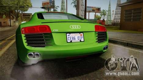 Audi R8 Coupe 4.2 FSI quattro EU-Spec 2008 for GTA San Andreas bottom view
