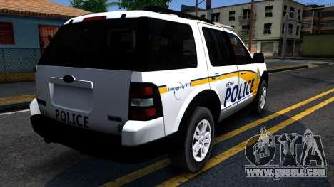 Ford Explorer Slicktop Metro Police 2010 for GTA San Andreas back view